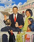 Obama Family Mixed Media Metal Prints - Unity Metal Print by Cliff Spohn