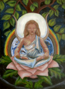 Lotus Leaves Paintings - Universal Goddess by Samantha Geernaert