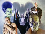 Vampire Bat Paintings - Universal Monsters by Ken Bruzenak