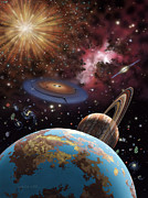 Planet System Painting Prints - Universe II Print by Lynette Cook