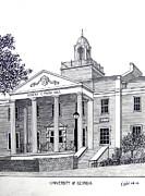 Historic Buildings Drawings Mixed Media - University of Georgia by Frederic Kohli