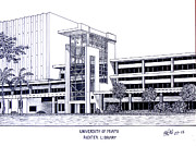 Famous University Buildings Drawings Posters - University of Miami Poster by Frederic Kohli