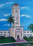 Puerto Rico Paintings - University of Puerto Rico Tower by Luis F Rodriguez