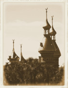 Campus Digital Art Posters - University of Tampa Minarets with Old Postcard Framing Poster by Carol Groenen