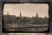 Silhouettes Digital Art Prints - University of Tampa with Old World Framing Print by Carol Groenen