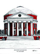 University Buildings Drawings Prints - University of Virginia Print by Frederic Kohli