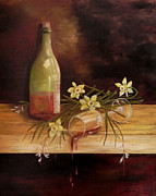 Wine Bottle Paintings - Unkept Promise by Laura Brown