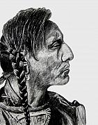 Graphite Portrait Prints - Unknown Indian II Print by Stan Hamilton