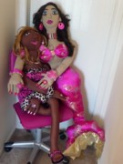 Cloth Doll Sculptures - Unlikely Friends by Cassandra George Sturges