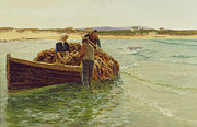 Rack Paintings - Unloading Kelp Weed  by Charles William Bartlett