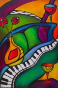 Piano Painting Originals - Unlocking the Evening by Darlene Keeffe