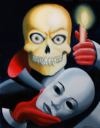 Eerie Painting Metal Prints - Unmasked - Skull Oil Painting Metal Print by Mark Webster