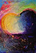 Passion Mixed Media - Unrestricted Heart Sunset Colors by Johane Amirault
