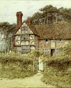 Country Cottage Metal Prints - Unstead Farm Godalming Metal Print by Helen Allingham