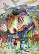 Rainbow Mixed Media Metal Prints - Untitled Metal Print by Callie Fink