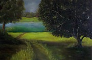 Overcast Day Paintings - Untitled Landscape by Marlene Book