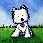 Mini Art Framed Prints - Untitled Westie Framed Print by Kim Niles