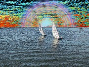 Nautical Digital Art - Unto The Sunset We Sail My Love by Tim Allen