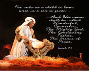 Manger Posters - Unto Us Is Born Poster by Monica Bryant