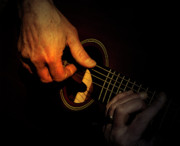 Acoustic Guitar Digital Art Metal Prints - Untying the Sound  Metal Print by Steven  Digman