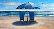 Chairs Mixed Media Framed Prints - Unwind at the Beach Framed Print by Elizabeth Robinette Tyndall