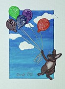 Balloons Mixed Media Originals - Up and Away by Sarah Swift