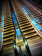 Escalator Framed Prints - Up and Down Framed Print by Eena Bo