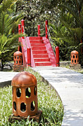 Up Garden Path Over Red Bridge Print by Kantilal Patel