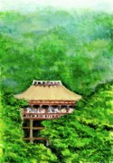 Landscape Greeting Cards Drawings Posters - Up High Temple Poster by Yoshiko Mishina