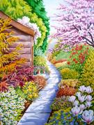 Daisies Drawings - Up the Garden Path by Debbie  Diamond