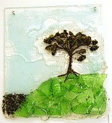 Recycled Reliefs Prints - Up the Hill Print by Mariann Taubensee