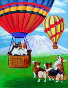 Hot Air Balloon Painting Posters - Up Up and Away - Pembroke Welsh Corgi Poster by Lyn Cook