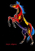 Horse Drawings Framed Prints - Up Up and Away 2 Framed Print by Tarja Stegars