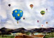 Hot Air Balloon Painting Posters - Up Up And Away Poster by Debra Walters