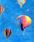 Hot Air Balloon Drawings Prints - Up Up and Away in My Beautiful Balloon Print by Linda Ginn