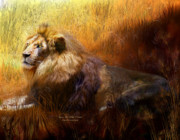 African Lion Art Mixed Media - Upon His Wild Throne by Carol Cavalaris