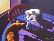 Cats Painting Posters - Upon Reflection Poster by Pat Burns