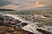 Stormy Night Prints - Upon Rocky Shores Print by James Heckt