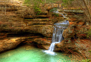 Woods Pyrography Prints - Upper Falls from the Top Print by Shirley Tinkham