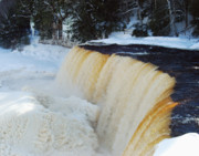 Michigan Waterfalls Prints - Upper Tahquamenon in Winter Print by Michael Peychich
