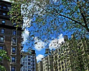 New York City Fire Escapes Posters - Upper West Side Spring Day Poster by Sarah Loft