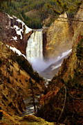Yellowstone Digital Art Prints - Upper Yellowstone Falls Print by Ellen Lacey
