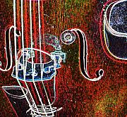 Bass Digital Art Prints - Upright Bass close up Print by Anita Burgermeister