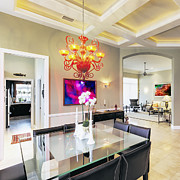 Florida House Photos - Upscale Dining Room Interior by Skip Nall