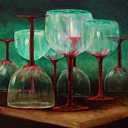 Glass Bottle Painting Posters - Upsidedown Poster by Linda Hiller
