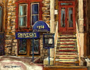 Winter Photos Painting Framed Prints - Upstairs Jazz Bar And Grill Montreal Framed Print by Carole Spandau