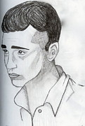 Young Man Drawings - Upward Gaze by Rebecca Wood