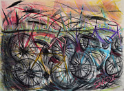 Biking Pastels - Urban Assault by Robert M Sassi