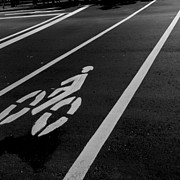 Road Marking Posters - Urban Bicycle Network At Night Poster by Jerry Weng