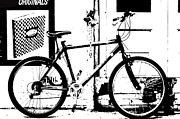 E Black Prints - Urban bicycle shilhoutte Print by ArtyZen Studios